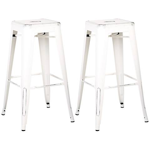 "Castro 30"" Distressed White Backless Barstool Set of 2"