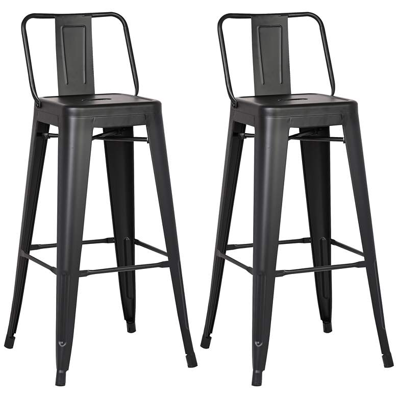 "AC Pacific Castro 30"" Matte Black Back Bar Stool Set of 2"