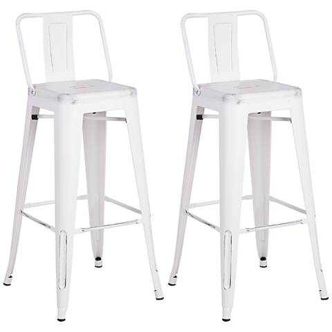 "Castro 30"" Distressed White Back Bar Stool Set of 2"