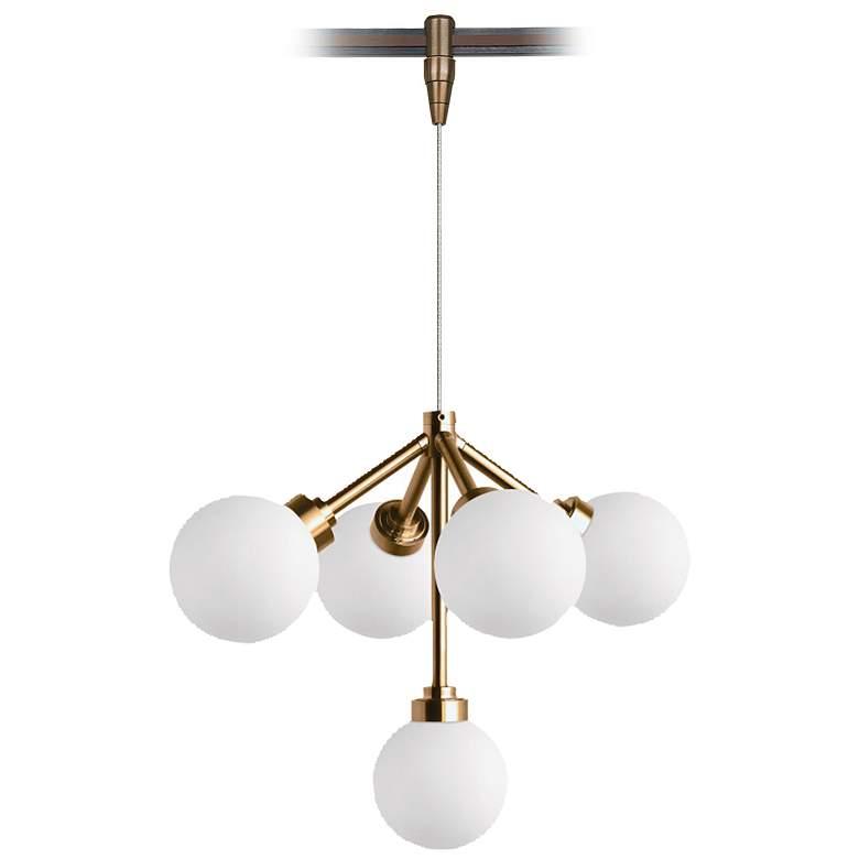 "Mara 12 1/4""W Aged Brass 5-Light LED Monorail Pendant Light"