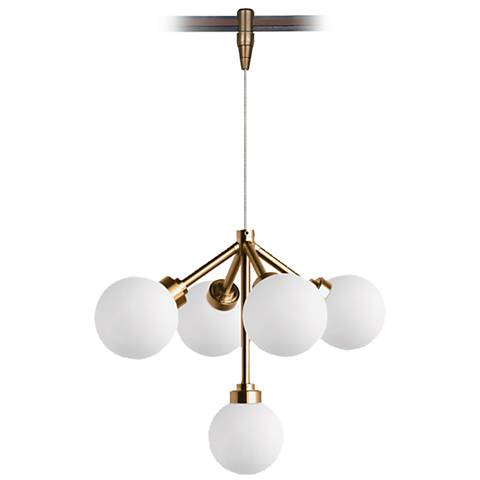 "Mara 12 1/4"" Wide Aged Brass LED Monorail Pendant Light"