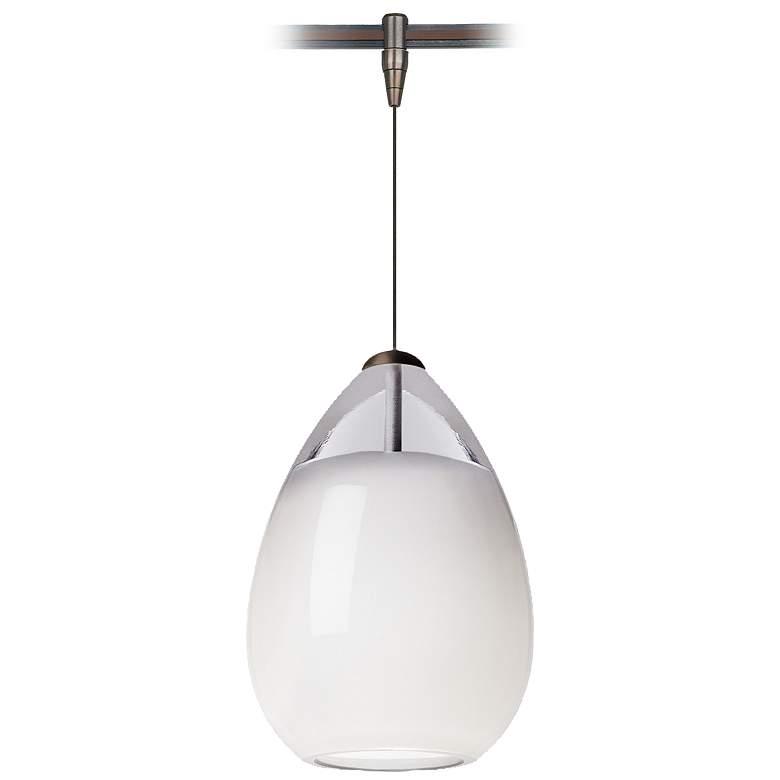 "Alina 4"" Wide Venetian White Glass LED Monorail Mini Pendant"