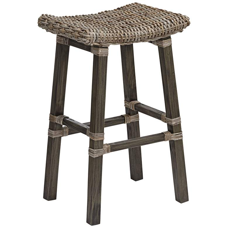 "Coutry 30"" Natural Kubu Gray and Dark Gray Barstool"