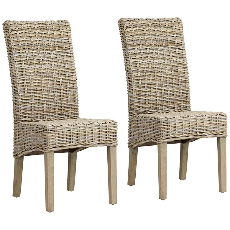 Lyra Reef Natural Kubu Gray Side Chair Set of 2