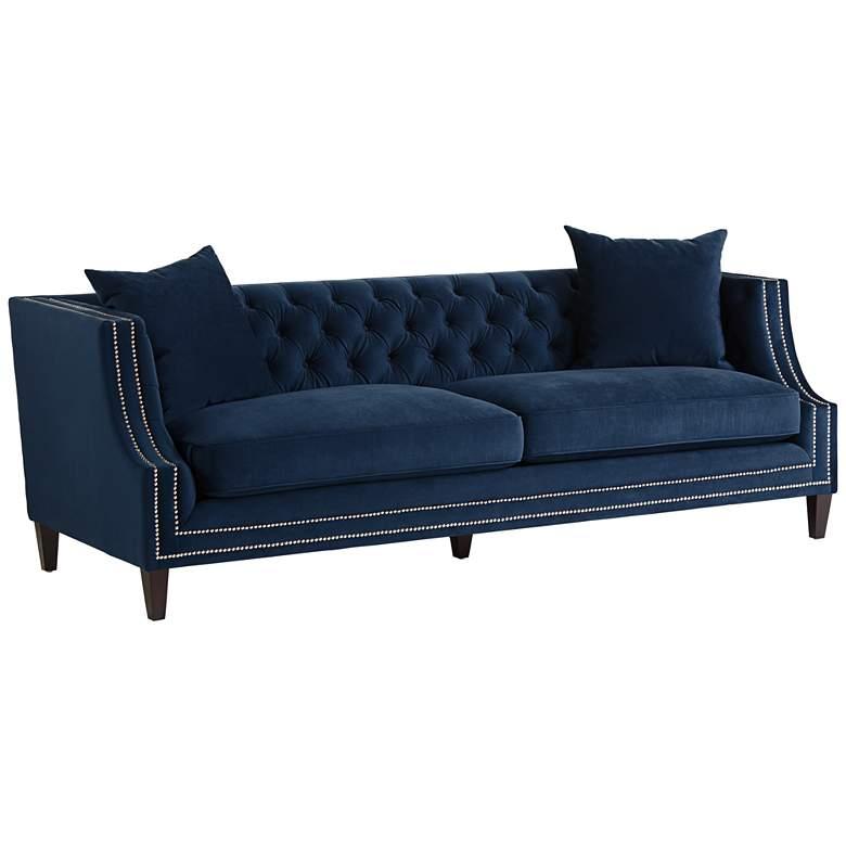 Marilyn 93 Quot Wide Blue Velvet Tufted Upholstered Sofa