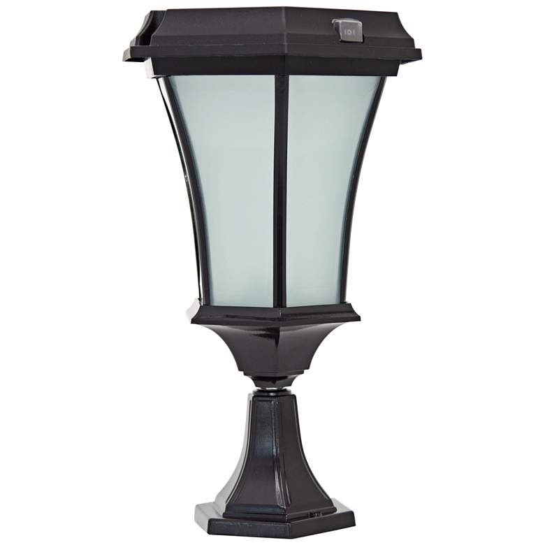 """Black 15"""" High Solar LED Outdoor Pier Light with Mount"""