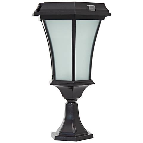 "Black 15"" High Solar LED Outdoor Pier Light with Mount"