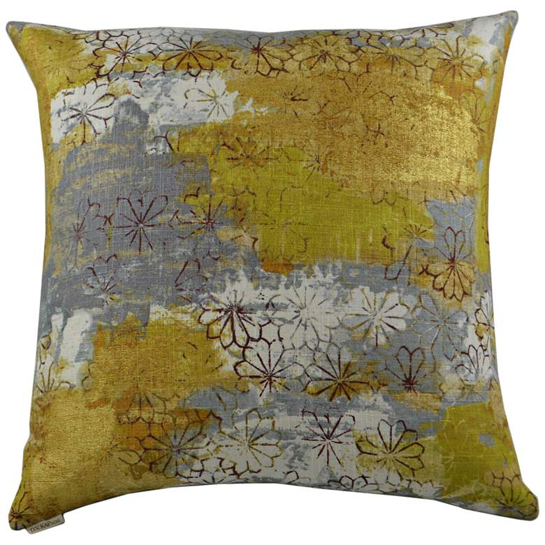 "Gray and Yellow Floral 20"" Square Decorative Pillow"