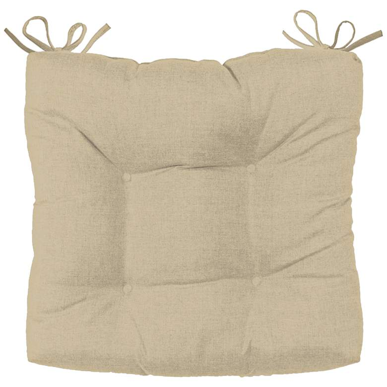 "Palmdale Canvas Antique Beige 19"" Wide Tufted Chair Cushion"