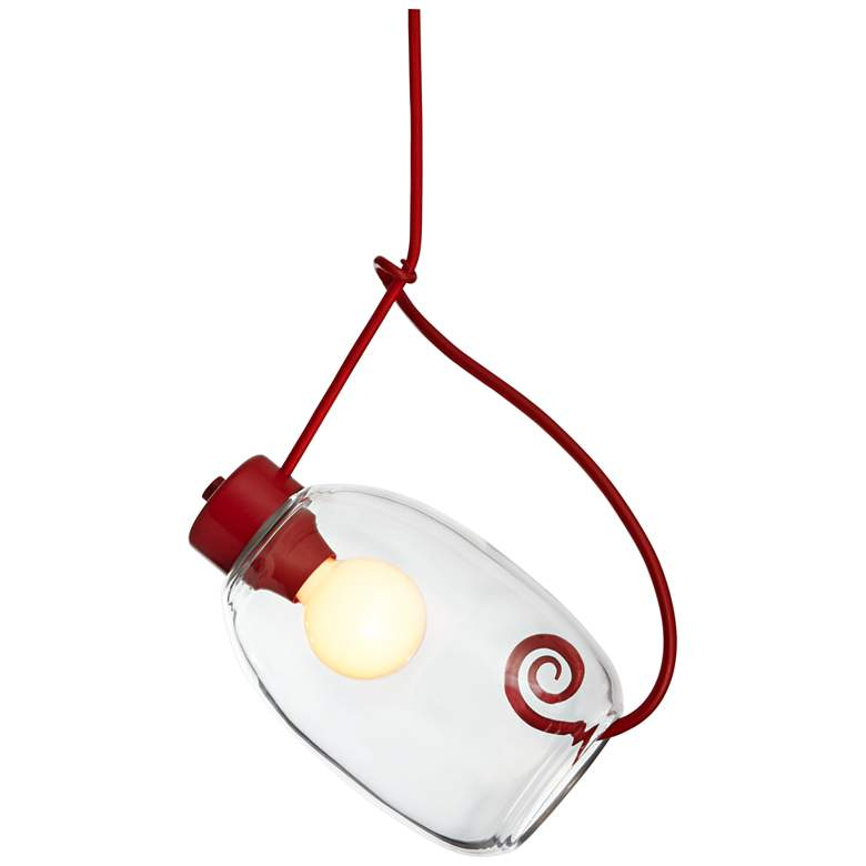 """Vine 13 3/4"""" Wide Satin Red and Clear Glass Pendant Light"""
