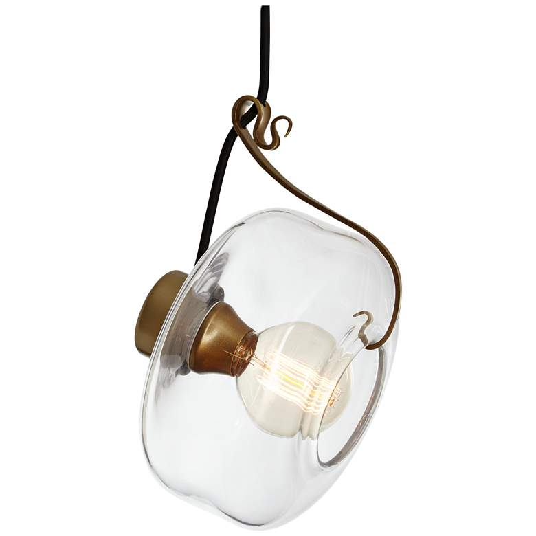 Hook 8 3/4 Wide Gold and Clear Glass Mini Pendant
