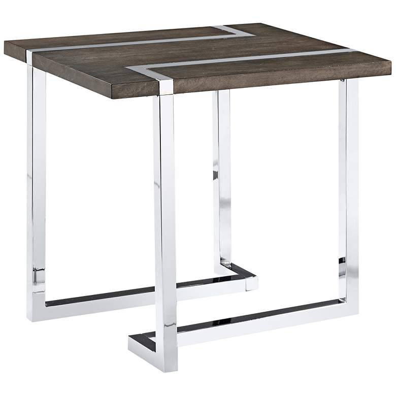 "Kieran 26"" Wide Charcoal Wood and Chrome Modern End Table"