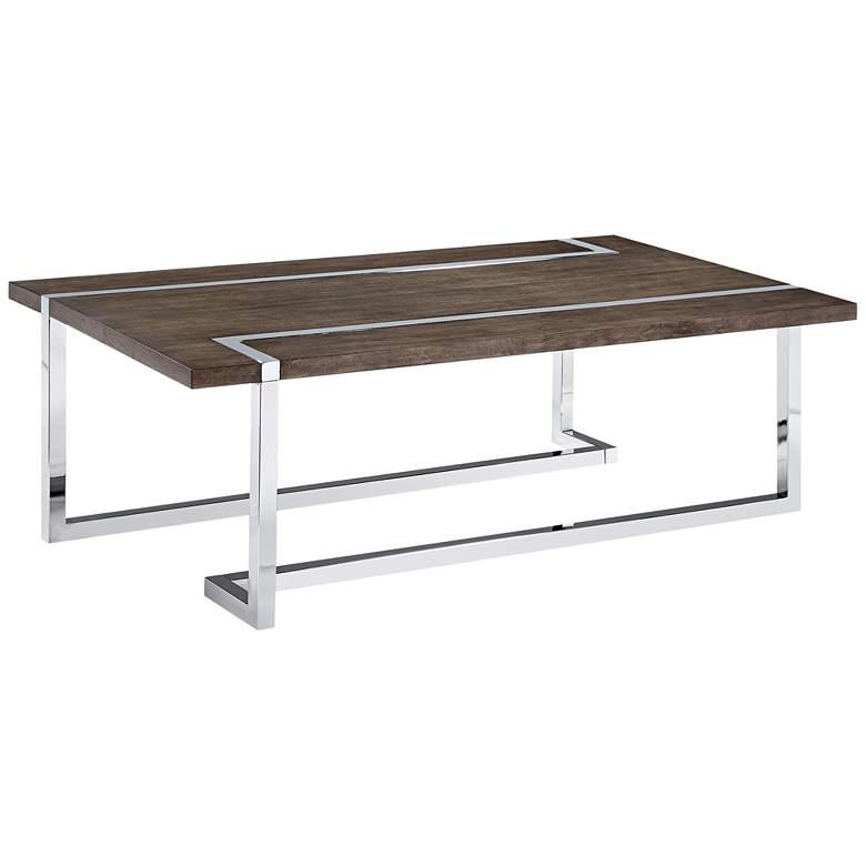 "Kieran 52"" Wide Charcoal Wood - Chrome Modern"