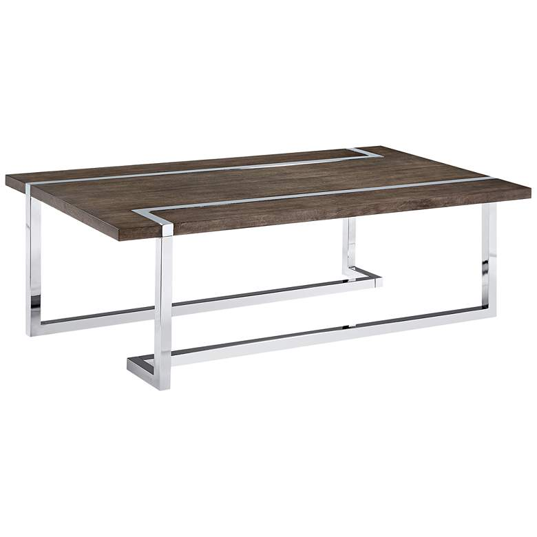 "Kieran 52"" Wide Charcoal Wood - Chrome Modern Cocktail Table"
