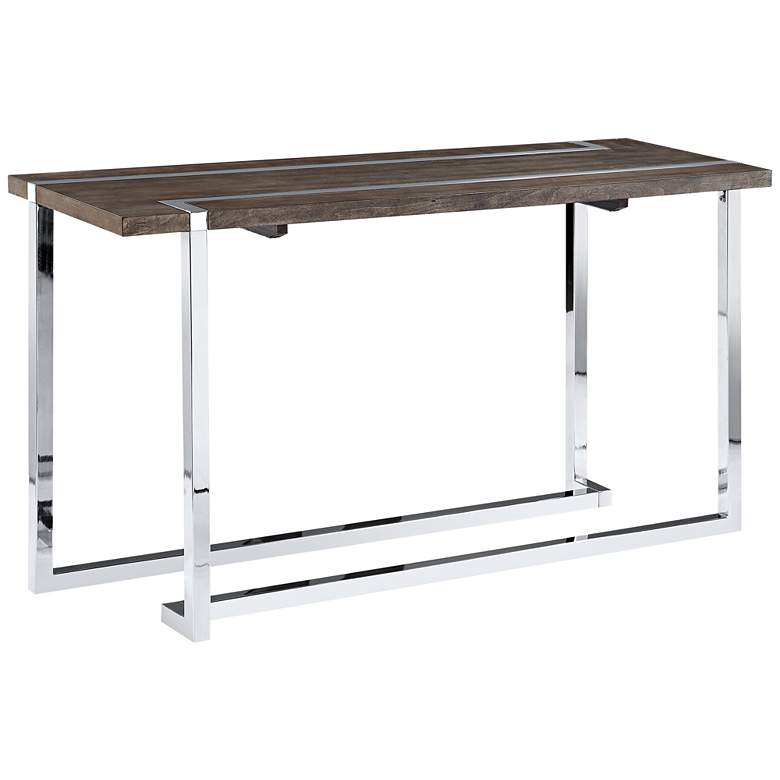 "Kieran 52"" Wide Charcoal Wood - Chrome Modern Sofa Table"