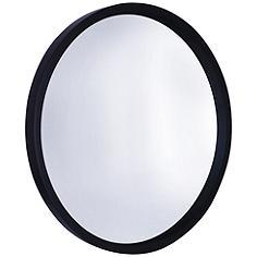 """Northwood Black 30"""" Round Wooden Wall Mirror"""