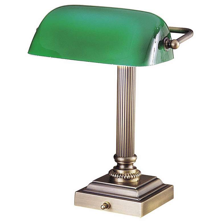 Hightower Antique Brass Banker Desk Lamp by House of Troy