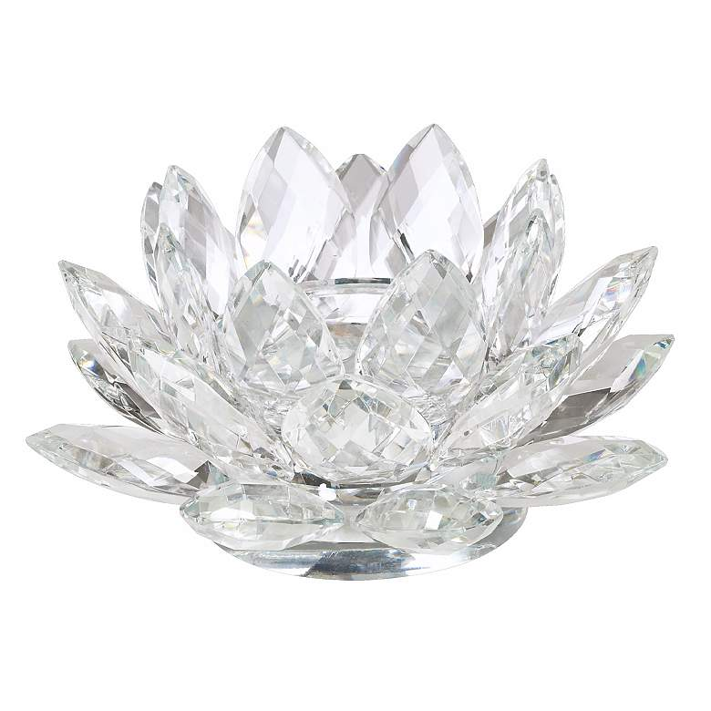 "Clear Crystal 9 1/2"" Wide Lotus Candle Holder"