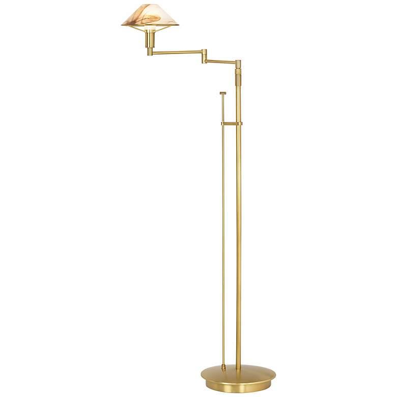 Holtkoetter Alabaster Shade Adjustable Swing Arm Floor Lamp
