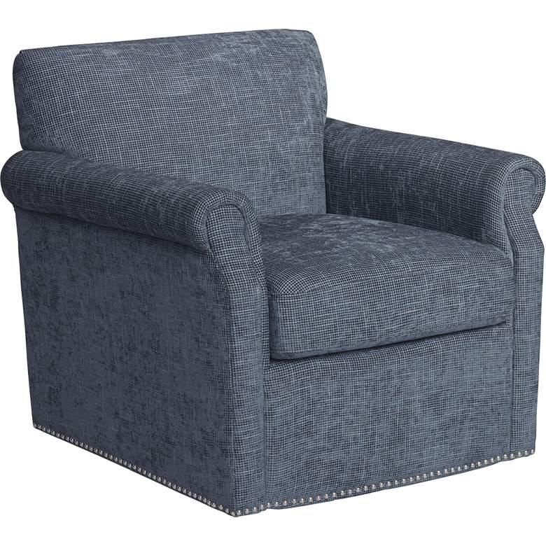 Aldrich Blue Upholstered Swivel Armchair