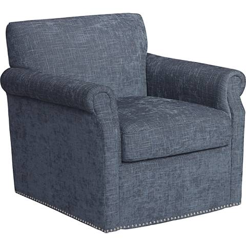 Aldrich Blue Upholstered Swivel Armchair