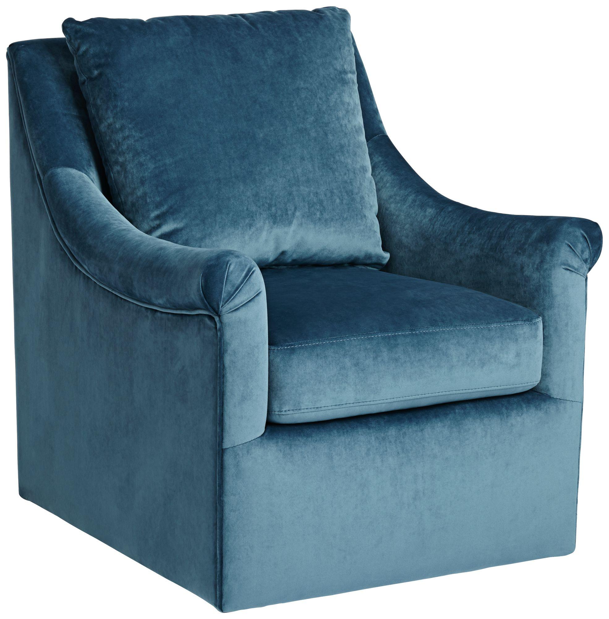 Deanna Blue Upholstered Swivel Armchair