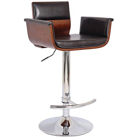 "Amherst 33 1/4"" Cherry and Chrome Adjustable Swivel Barstool"