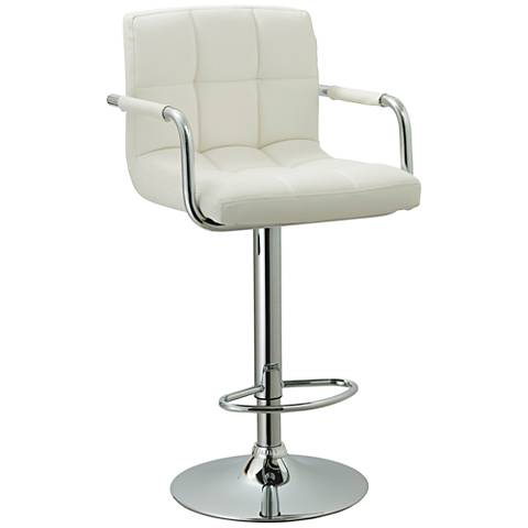 "Tempest 33"" White Faux Leather Adjustable Swivel Barstool"