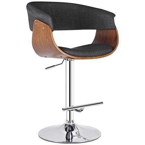 "Calumet 32 1/2"" Walnut and Chrome Adjustable Swivel Barstool"
