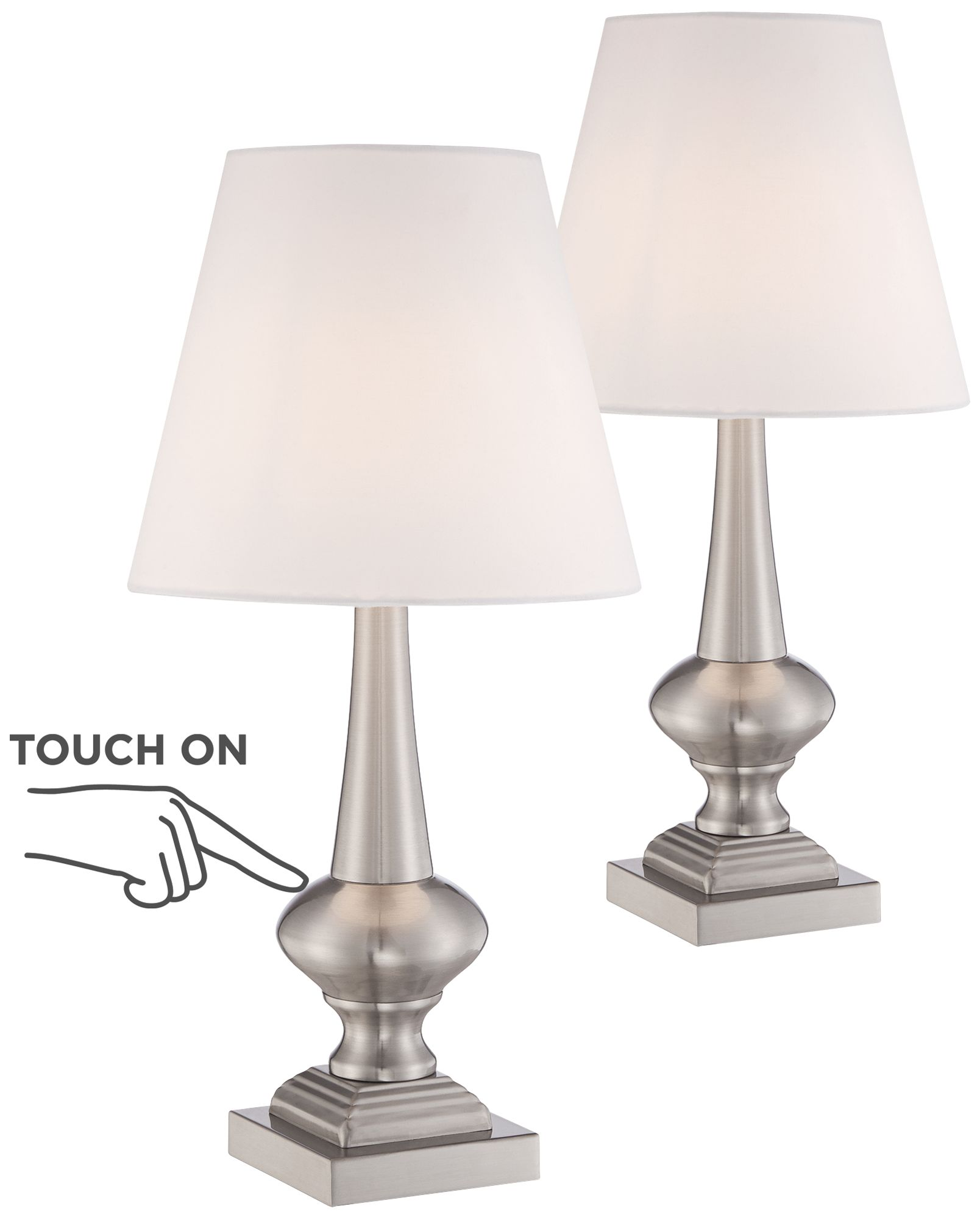 Delicieux Set Of 2 Brooks Brushed Steel Touch On Off Table Lamps