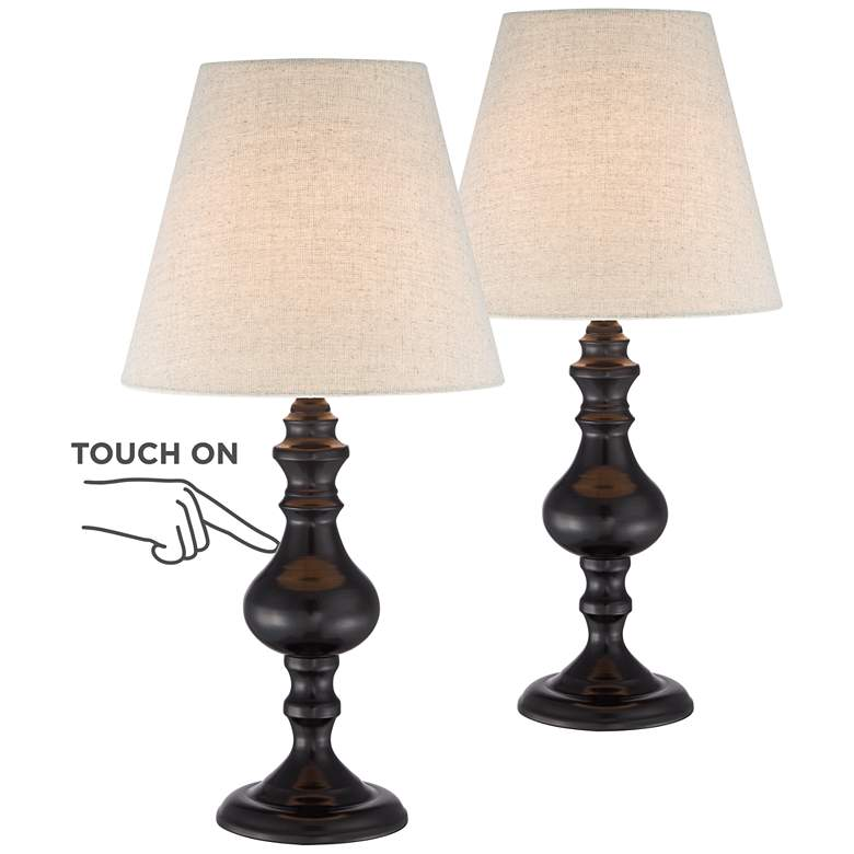 """Ted Dark Bronze 18 1/2""""H Touch Accent Lamps Set of 2"""