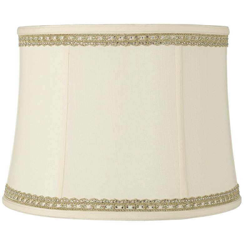 Drum Shade with Lace and Rhinestone Trim 14x16x12