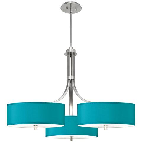 "Teal Blue Faux Silk 36"" Wide Triple Shade Pendant"