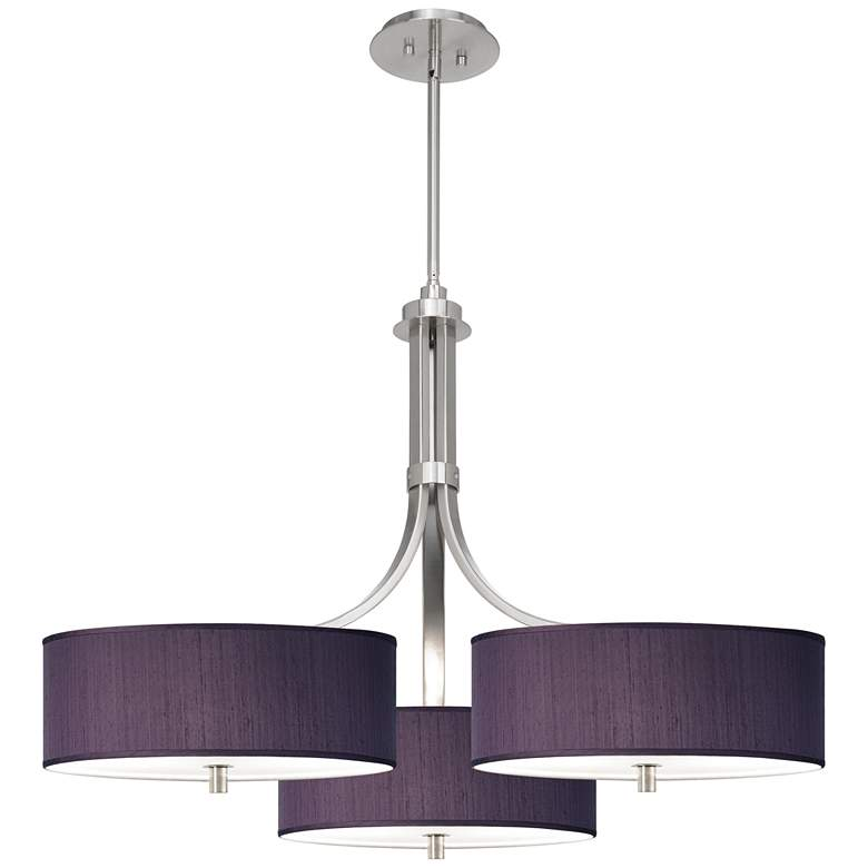 """Eggplant Polyester 36"""" Wide Triple Shade Pendant"""