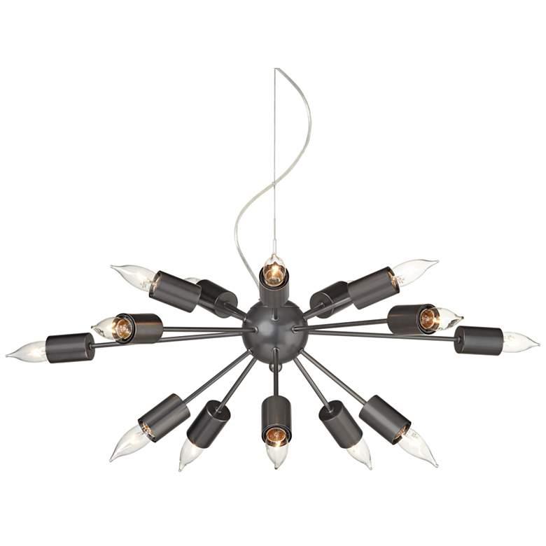 "Hemingson 35 1/2""W Gun Metal Pendant with Candelabra Bulbs"