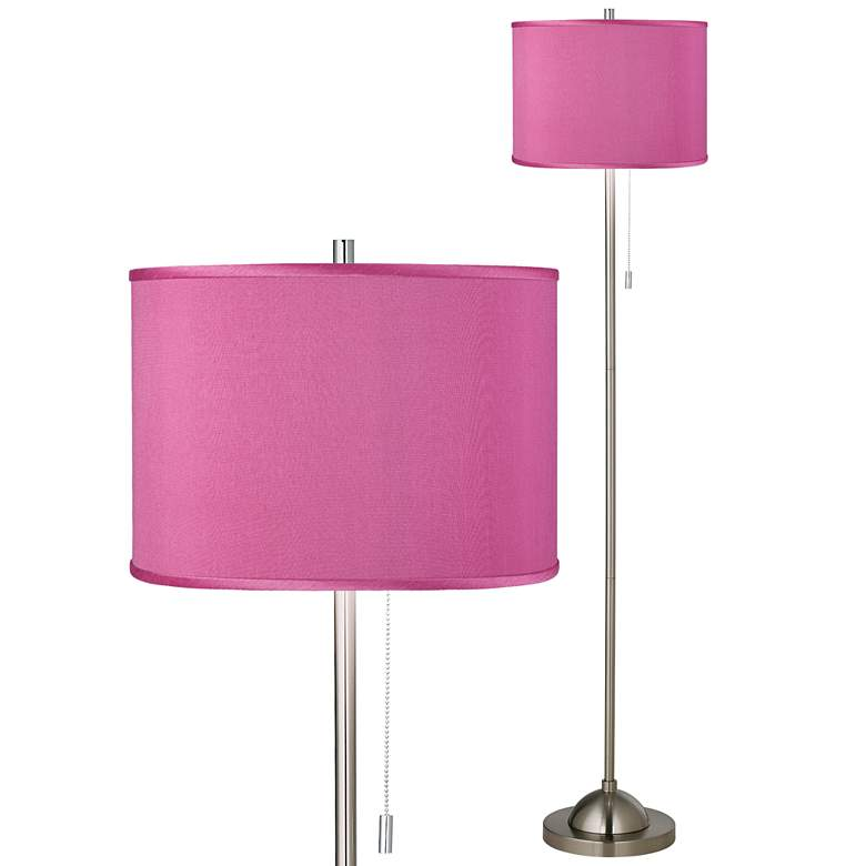 Pink Orchid Polyester Brushed Nickel Pull Chain Floor Lamp