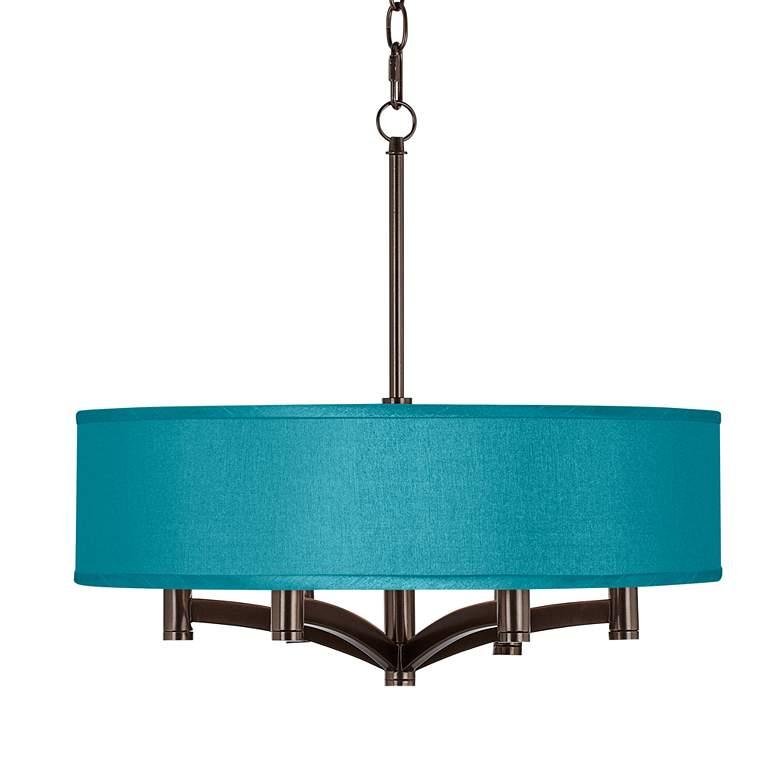 Teal Blue Polyester Ava 6-Light Bronze Pendant Chandelier