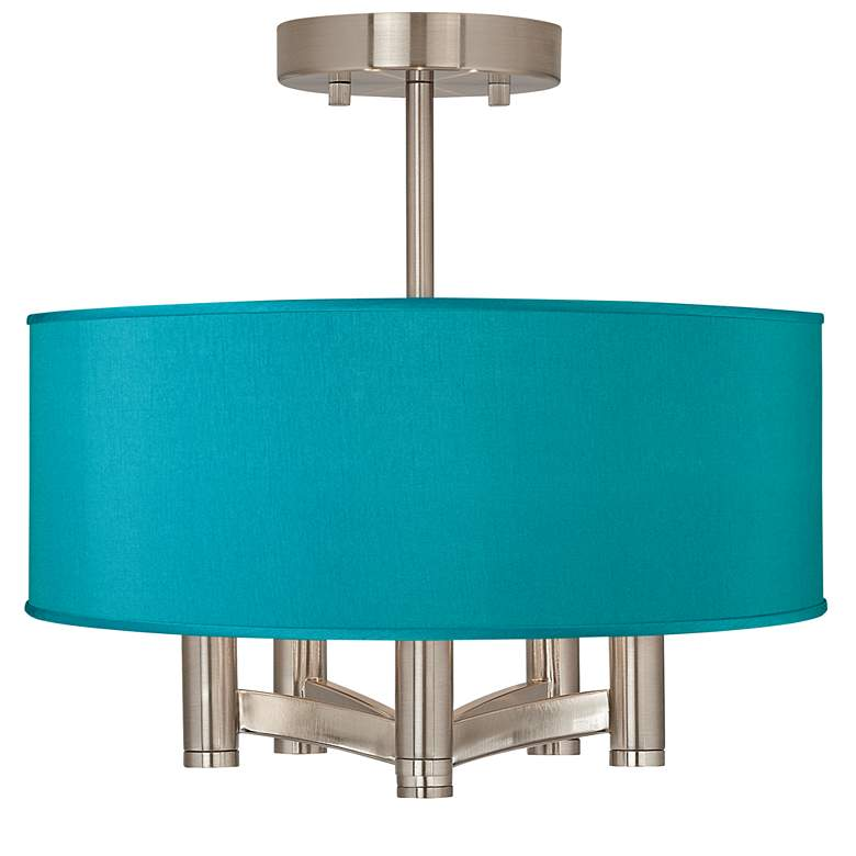 Teal Blue Faux Silk Ava 5-Light Nickel Ceiling
