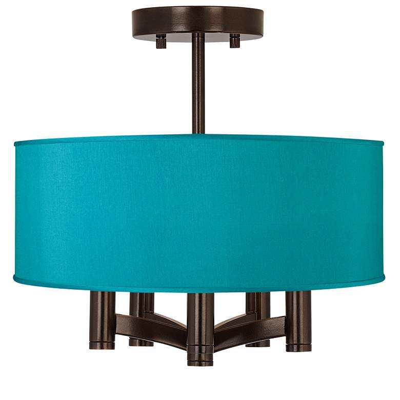 Teal Blue Faux Silk Ava 5-Light Bronze Ceiling Light