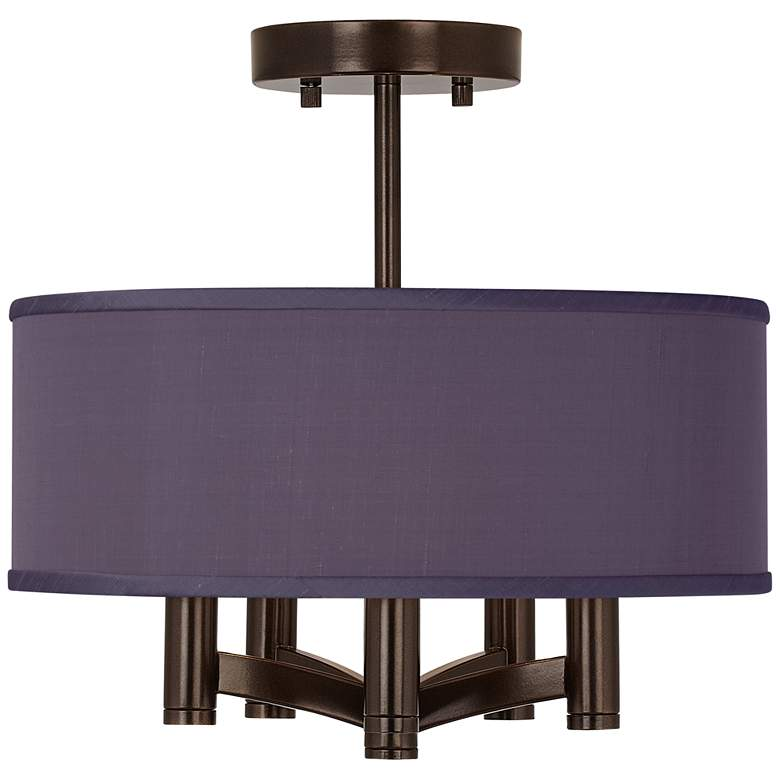 Eggplant Faux Silk Ava 5-Light Bronze Ceiling Light