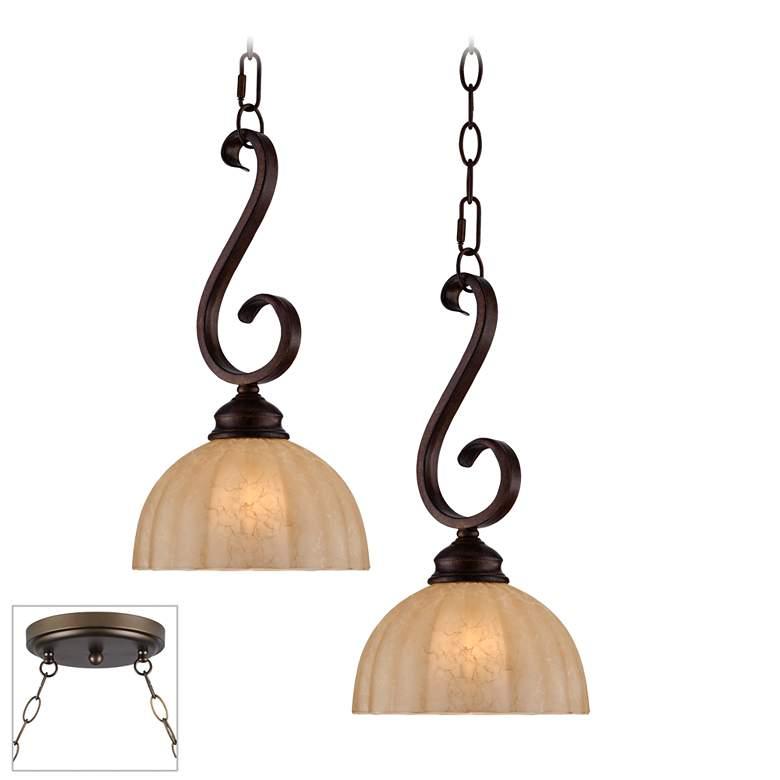 Ferro Scroll Bronze Double Multi Light Pendant