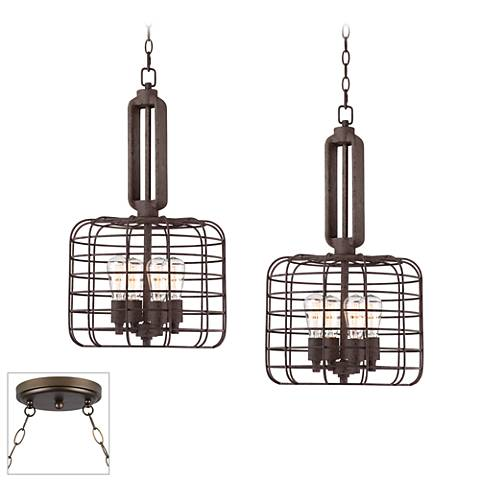 Industrial Style Cage Bronze Double Multi Light Pendant