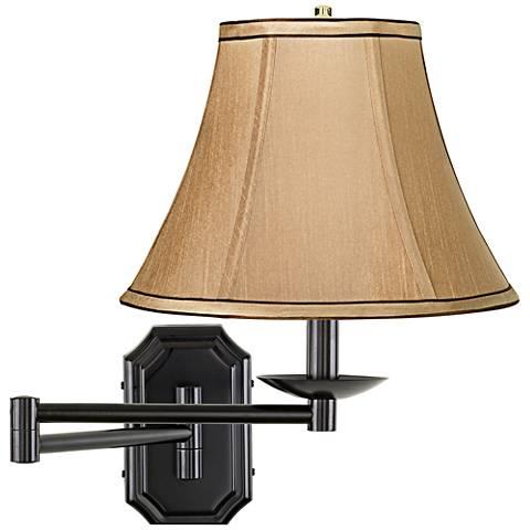 Tan and Brown Trim Dark Bronze Plug-In Swing Arm Wall Lamp