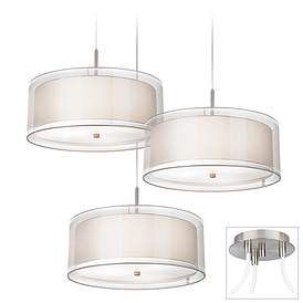 Possini Euro Double Drum Brushed Nickel 3 Light Swag Pendant