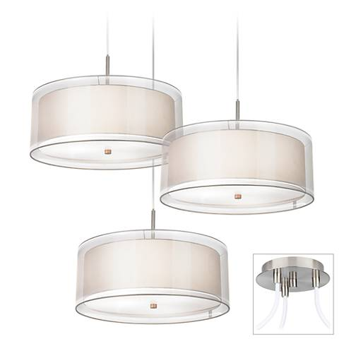 Possini Euro Double Drum Brushed Nickel 3-Light Swag Pendant