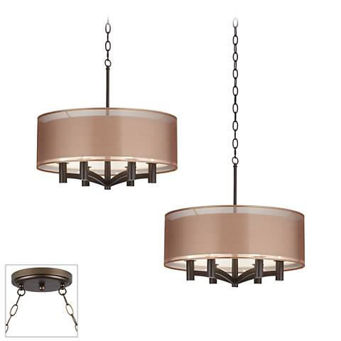 Possini Euro Caliari Bronze 2-Light Swag Chandelier
