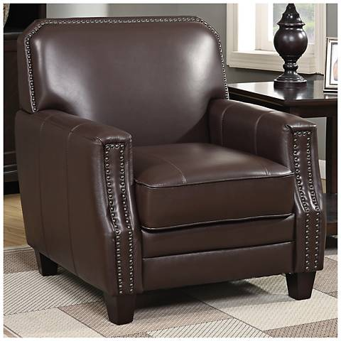 Tasman Brown Full Grain Leather Club Armchair