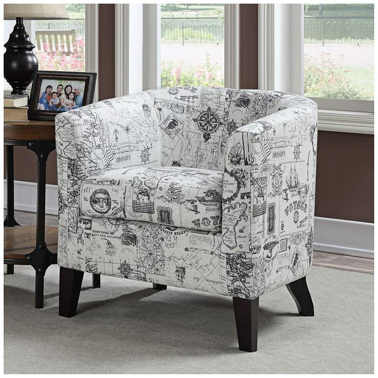 Jerry Barrel White Fabric Accent Chair