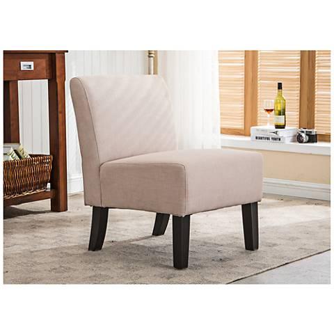Samantha Khaki Fabric Slipper Accent Chair