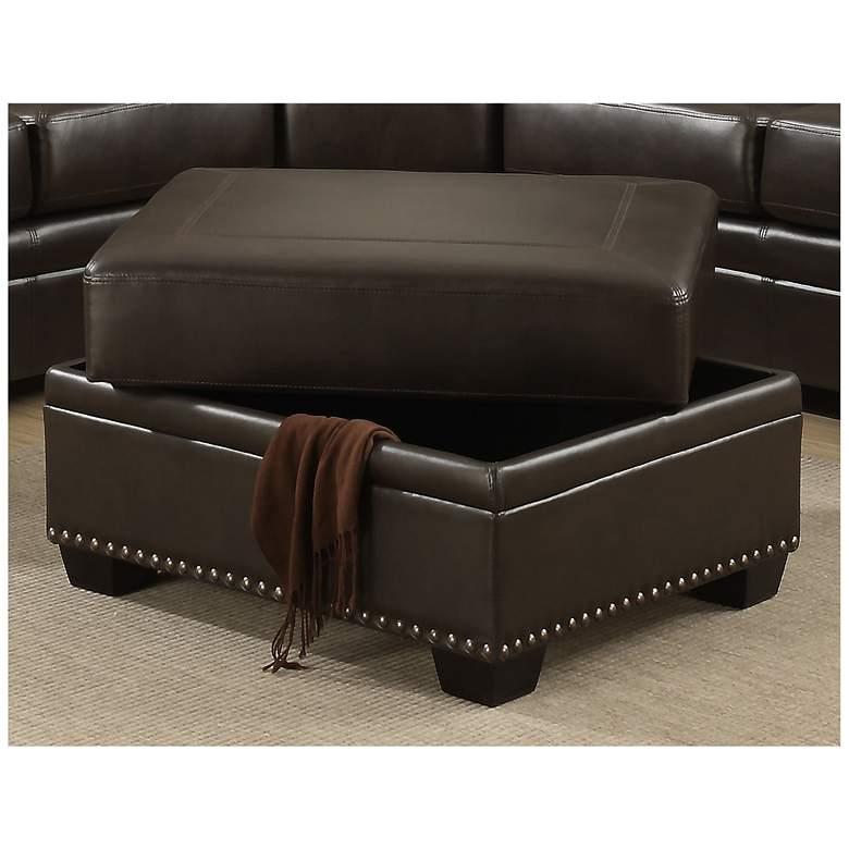 Louis Brown Leather-Like Fabric Storage Ottoman